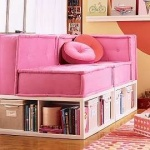 Cushy chair with bookcase underneath